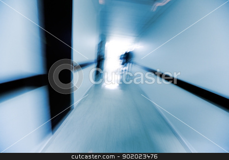 hospital corridor  stock photo, Abstract image of a hospital corridor in blue toned by carloscastilla