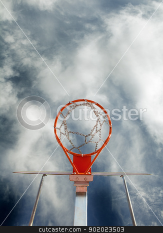 basketball goal stock photo, Abstract image of basketball goal against the sky by carloscastilla