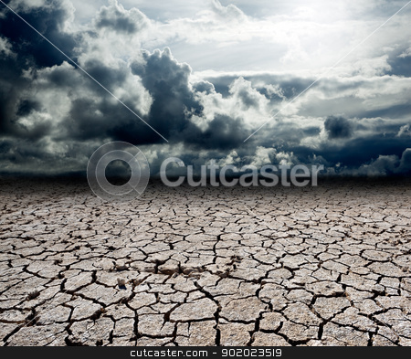 storm clouds stock photo, Landscape with storm clouds and dry soil by carloscastilla