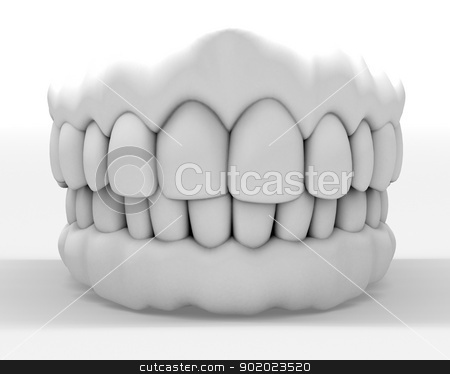 denture stock photo, 3d image of white denture isolated on white by carloscastilla