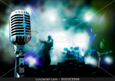 live music background stock photo, Illustration concert and vintage microphone by carloscastilla