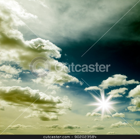 Sunset sky stock photo, Sunset sky with clouds and sun.  by carloscastilla