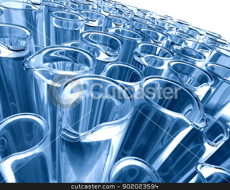 test tubes stock photo, 3d image of test tubes in blue toned by carloscastilla