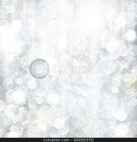 Glittering silver Christmas background with blurred lights stock vector clipart, Bright and festive silver background with snow flakes, stars and bokeh lights. Beautiful template for Christmas and winter cards. by Ina Wendrock