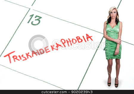 Triskaidekaphobia stock photo, Woman with a calendar entry on Friday the 13th for Triskaidekaphobia by Robert Byron