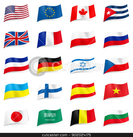 Set of World flags icons stock photo, Set World flags icons. Illustration on white by dvarg