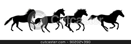 Horse silhouettes stock photo, Horse silhouettes over white background by Yulia Chupina