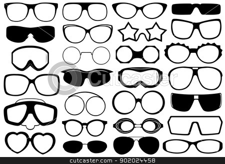Different eyeglasses isolated stock vector clipart, Different eyeglasses isolated on white by Ioana Martalogu