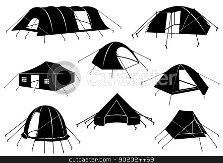 Set of tents isolated stock vector clipart, Set of tents isolated on white by Ioana Martalogu