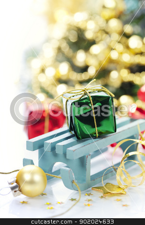 christmas composition stock photo, Bright christmas composition with sledge by klenova