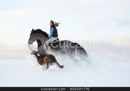 _Winter entertainment_ stock photo, Young woman, her horse and dog (Russian wolfhound) by Yulia Chupina