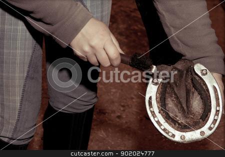 Horseshoe stock photo, The woman examines a horseshoe of the horse by Yulia Chupina