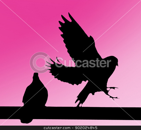 Silhouette of two doves stock photo, A black silhouette of two doves on purple background. by Yulia Chupina