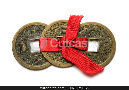 Three Chinese coins - symbol of wealth stock photo, Three Chinese coins - symbol of wealth - on white by Yulia Chupina