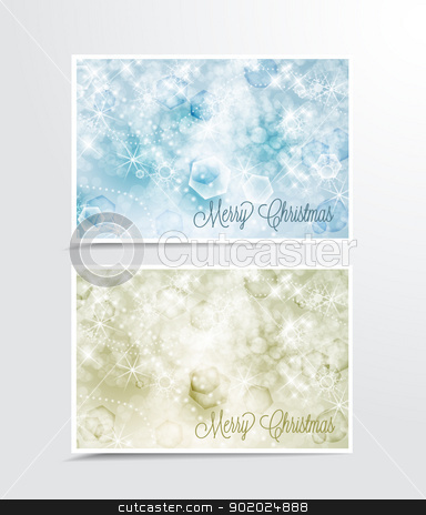 Christmas background stock vector clipart, Two Christmas cards with snow by Miroslava Hlavacova