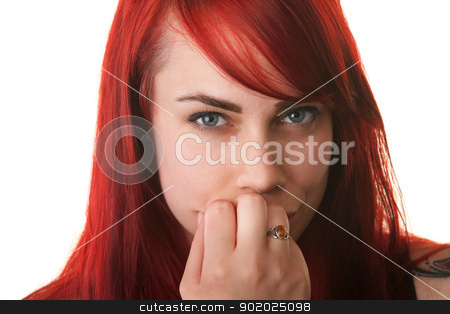 Skeptical Woman with Fingers on Mouth stock photo, Skeptical young woman with fingers on mouth over white background by Scott Griessel