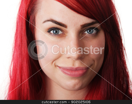 Cute Smiling Woman stock photo, Cute smiling white woman with red hair on isolated background by Scott Griessel