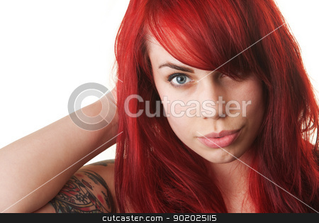 Woman with Red Hair and Tattoo stock photo, Beautiful woman with red hair and tattoo by Scott Griessel