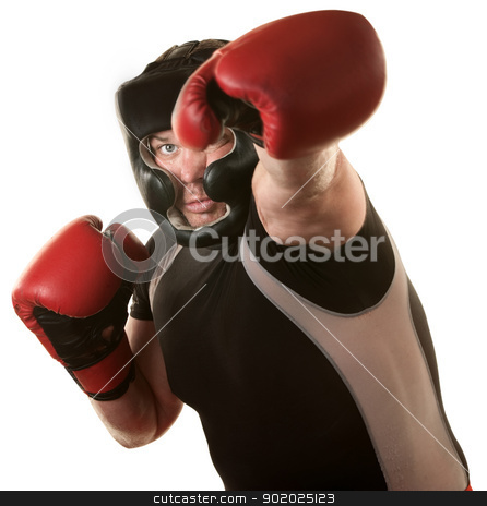 Fighers Throws a Punch stock photo, Strong male boxer throws a jab over white background  by Scott Griessel