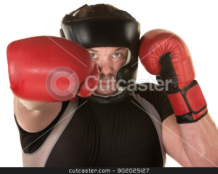 European Boxer Punching stock photo, European boxer punches with other hand guarding by Scott Griessel