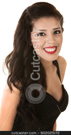 Cheerful Mexican Female stock photo, Cheerful beautiful Mexican woman cut out from white background by Scott Griessel