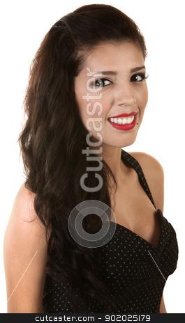 Stylish Latina Beauty stock photo, Stylish Latina beauty with polka dot dress on isolated background by Scott Griessel