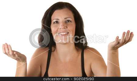 Smiling Woman with Palms Up stock photo, Smiling Mexican adult female with hands open over white by Scott Griessel