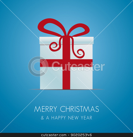 white christmas gift box stock vector clipart, white christmas gift box with red ribbon by d3images