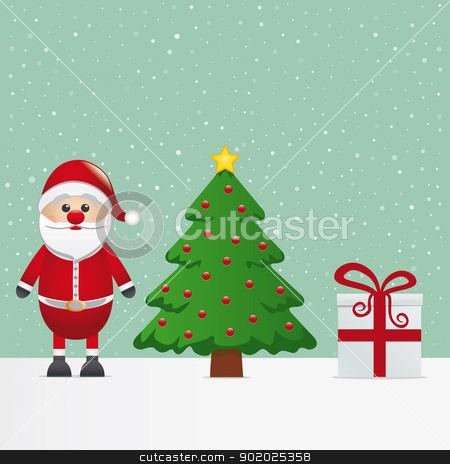 santa claus gift christmas tree snowy stock vector clipart, santa claus gift and christmas tree snowy by d3images