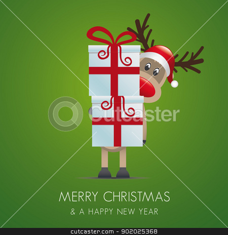 reindeer christmas gift box red ribbon stock vector clipart, reindeer christmas gift box with red ribbon by d3images