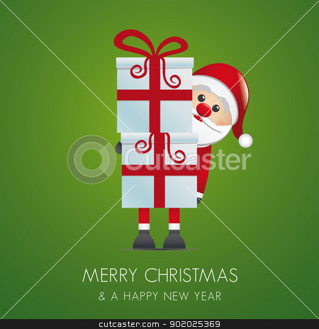 santa hold gift boxes red ribbon stock vector clipart, santa hold gift boxes with red ribbon by d3images