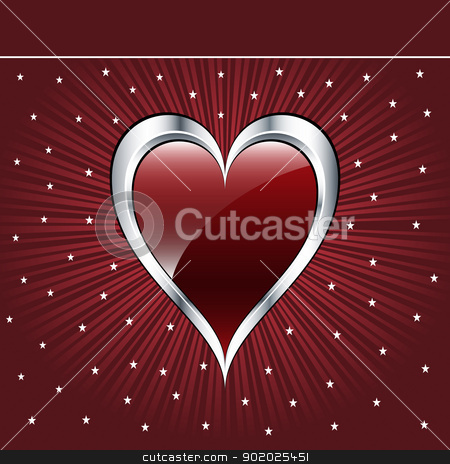 Valentine love heart stock vector clipart, Valentine love heart in a dark red and silver on sunburst background with stars. Copyspace for text. by toots77