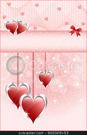 Red love hearts and bow stock vector clipart, Red love hearts symbolizing valentines day, mothers day or wedding anniversary. Copy space for text. by toots77