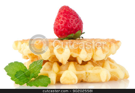 Waffles and strawberry stock photo, Waffles and strawberry isolated on white background. by Homydesign