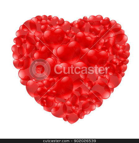 Heart shape stock photo, Heart shape made with little hearts. Illustration on white by dvarg