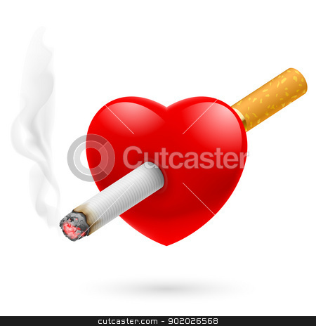 Smoking kill heart stock photo, Smoking kill. Illustration of red heart impaled by cigarette. by dvarg