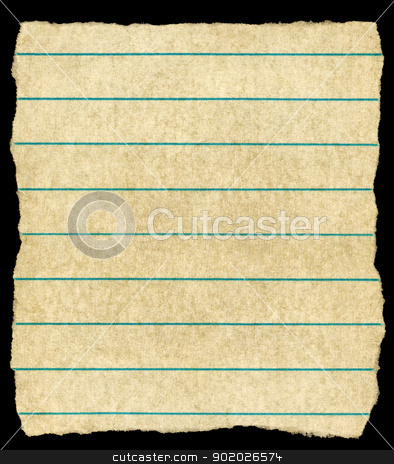Old vintage yellowing torn lined paper isolated on black. stock photo, Old vintage yellowing torn lined paper isolated on black. by Stephen Rees