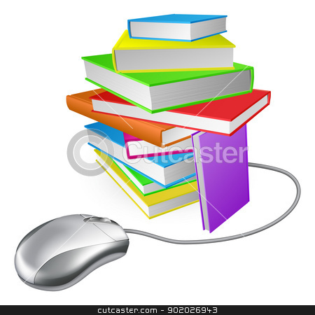 Book stack computer mouse stock vector clipart, Book stack computer mouse concept. Could be for online library, ebooks, or internet e learning or distance learning  by Christos Georghiou