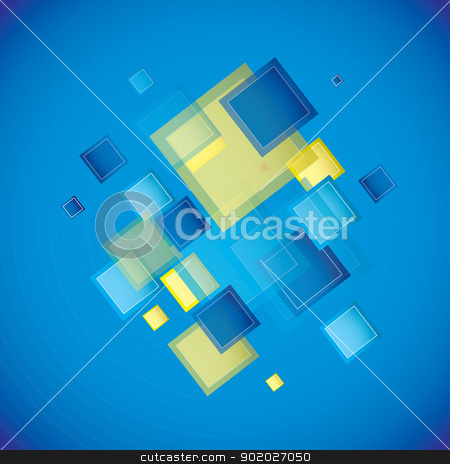 Blue square stock vector clipart, Blue square background with square elements by Michael Travers