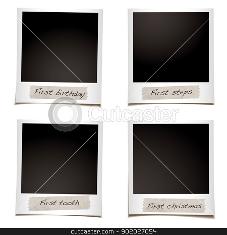 Photo first christmas stock vector clipart, Set of instant photos with space for first steps and christmas photographs by Michael Travers