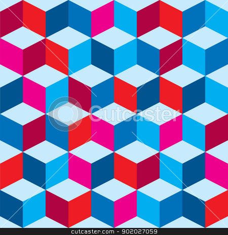Tricolor optical background stock vector clipart, Optical illusion background in red white and blue with seamless pattern by Michael Travers