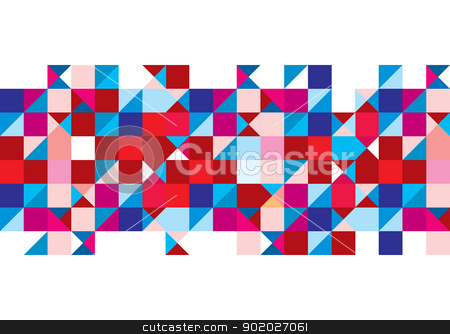 Tricolour pattern background stock vector clipart, Abstract triangle background with red and white design elements by Michael Travers
