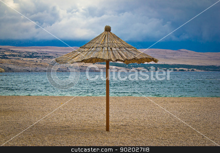 Famous Zrce beach umbrella out of season stock photo, Famous Zrce beach umbrella out of season, Island of Pag, Croatia by xbrchx