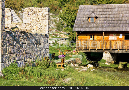 Old church ruins & watermill on Gacka stock photo, Old church ruins & watermill on Gacka river source, Majerovo Vrilo, Lika, Croatia by xbrchx