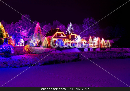 Christmas fantasy - park, forest & lodge in xmas lights stock photo, Christmas fantasy - park, forest, pine tree & lodge in xmas lights by xbrchx