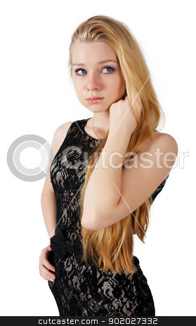 portrait of beautiful blonde girl stock photo, portrait of blond woman in studio. Isolated on white by Aikon