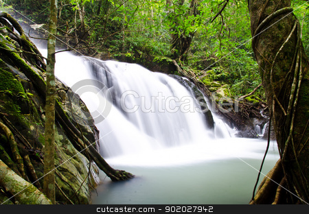 Deep forest Waterfall  stock photo, Deep forest Waterfall in Saraburi, Thailand by chatchai