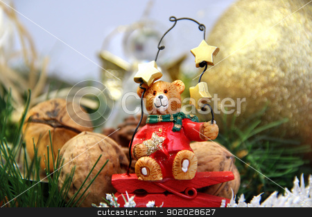 Christmas decorations (bear)	  stock photo, Big mix of Christmas decorations with cute bear by Tatiana Mihaliova