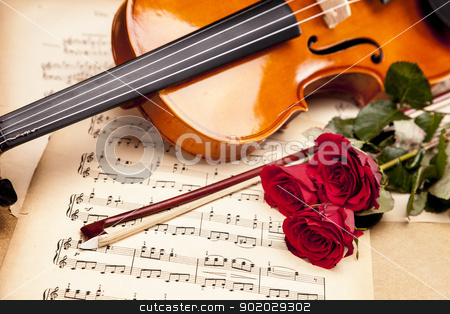 Beautiful roses and violin!  stock photo, Violin, music, love and extasy! Everything for valentines by fikmik