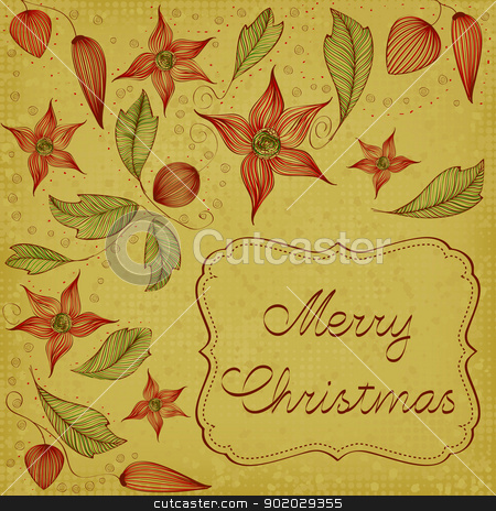Floral Christmas Card stock vector clipart, Art Nouveau floral christmas card by wingedcats